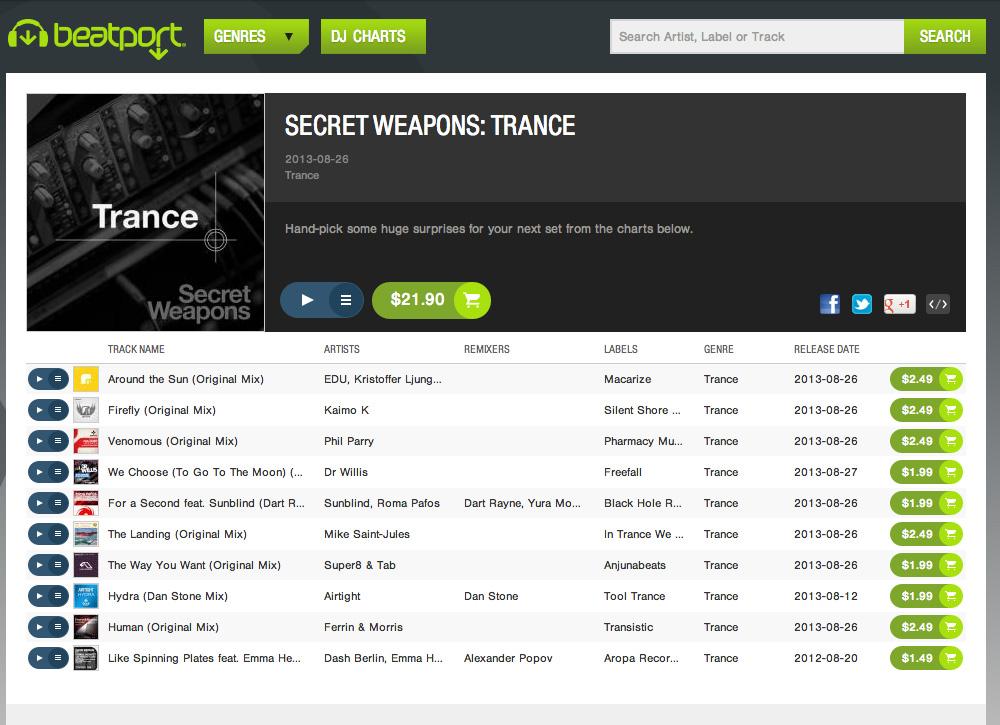 """Venomous"" named one of Beatport's ""Secret Weapons of Trance"""