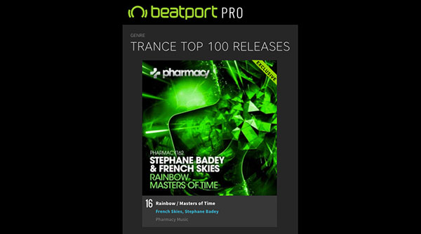 Stephane Badey & French Skies – Rainbow / Masters of Time in Beatport Top 20