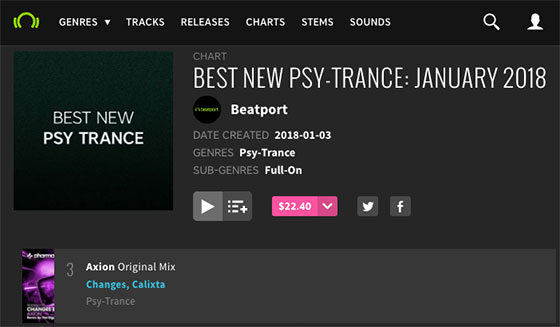 Beatport's Best New Psy-Trance Chart feat. Changes & DJ Calixta – Axion