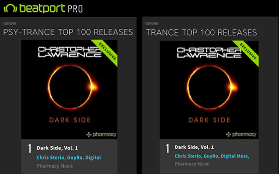Christopher Lawrence – Dark Side mix compilation hits #1 on Trance and Psy-Trance charts!