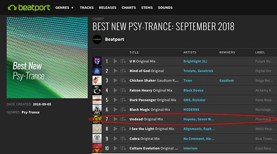 Seven Ways & Hopeku – Undead on Beatport's Must Hear Psy-Trance chart